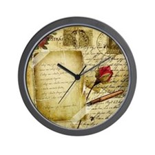 Vintage Letter With Rose Paper Wall Clock
