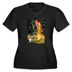 Fairies & Chihuahua Women's Plus Size V-Neck Dark