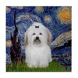 Starry Night Coton de Tulear Tile Coaster