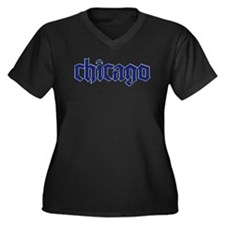 Chicago Apparel Women's Plus Size V-Neck Dark T-Sh