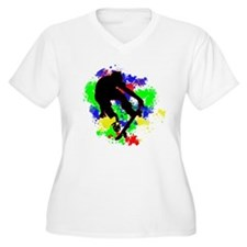 Graffiti Paint Splotches Skatebo Plus Size T-Shirt