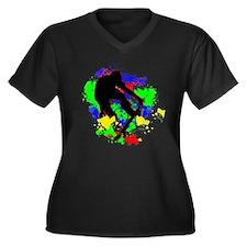 Graffiti Paint Splotches Skatebo Plus Size T-Shirt