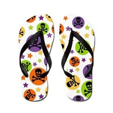 Halloween Skulls and Polka Dots Flip Flops