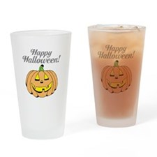 Jack o lantern pumpkin face carving Drinking Glass