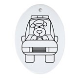 Police Car Color Me Oval Ornament