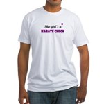 This Girl's A Karate Chick (Grape) Fitted T-Shirt