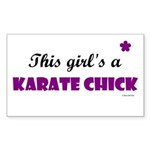 This Girl's A Karate Chick (Grape) Sticker (Rectan