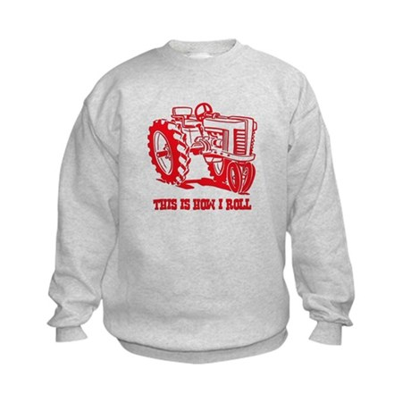 This Is How I Roll Tractor RED Kids Sweatshirt