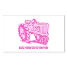 Real Women Drive Tractors Rectangle Bumper Stickers