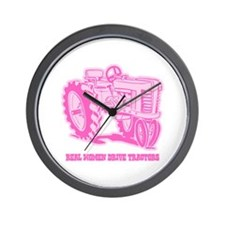 Real Women Drive Tractors Wall Clock