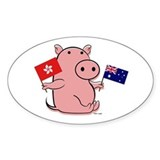 AUSTRALIA AND HONG KONG Oval Decal