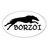Running Borzoi w/Text Oval Décalcomanies
