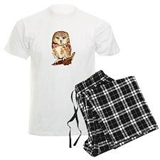 Watercolor Saw Whet Cute Little Owl pajamas