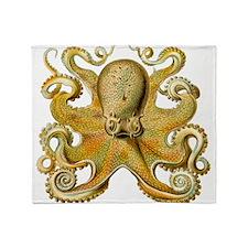 Vintage octopus cephalopod kraken tentacles Throw