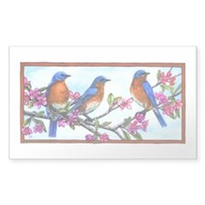 Bluebirds & Blossoms Rectangle Decal