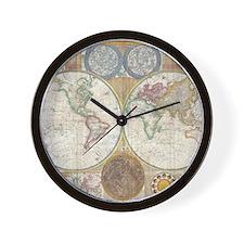 1794 Samuel Dunn Vintage World Map Wall Clock