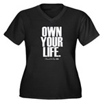 Own Your Life Women's Plus Size V-Neck Dark T-Shir