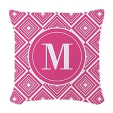 Diamond Pattern Dark Pink and White with Monogram