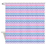 Blue And Purple Chevron Pattern Shower Curtain