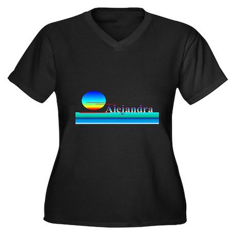 Alejandra Women's Plus Size V-Neck Dark T-Shirt