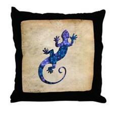 Blue Gecko Throw Pillow