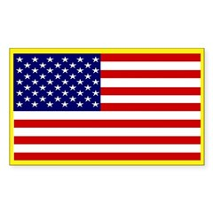 American Flag Patriotic Rectangle Sticker