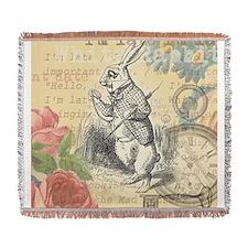 White Rabbit from Alice in Wonderland Woven Blanke