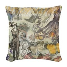 Vintage Octopus and Bathing Beauties Woven Throw P