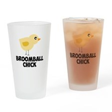 Broomball Chick Drinking Glass