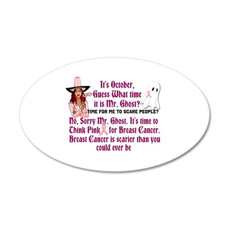 Breast Cancer is Scary 20x12 Oval Wall Decal