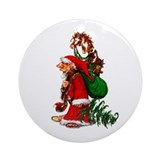 Santa Gnome Ornament (Round)