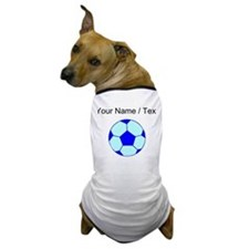Custom Blue Soccer Ball Dog T-Shirt