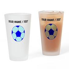 Custom Blue Soccer Ball Drinking Glass