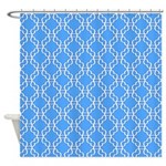 Sky Blue And White Chain Pattern Shower Curtain