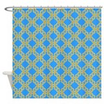 Blue And Gold Chain Pattern Shower Curtain
