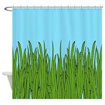 Tall Grass And Blue Sky Shower Curtain