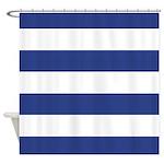 Indigo Blue And White Striped Shower Curtain