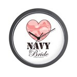 Navy Bride Pink Camo Heart Wall Clock