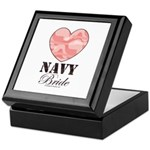 Navy Bride Pink Camo Heart Keepsake Box