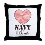 Navy Bride Pink Camo Heart Throw Pillow