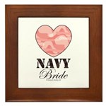 Navy Bride Pink Camo Heart Framed Tile