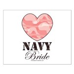 Navy Bride Pink Camo Heart Small Poster