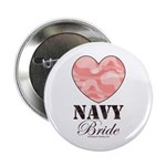 Navy Bride Pink Camo Heart Button
