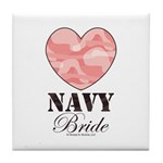 Navy Bride Pink Camo Heart Tile Coaster