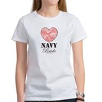 Navy Bride Pink Camo Heart Women's T-Shirt