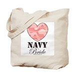 Navy Bride Pink Camo Heart Tote Bag