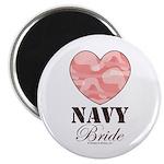 Navy Bride Pink Camo Heart Magnet