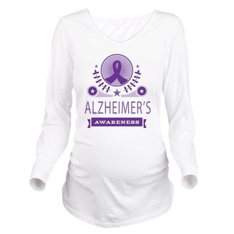 Alzheimers Ribbon Long Sleeve Maternity T-Shirt