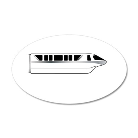 Monorail Silver 20x12 Oval Wall Decal