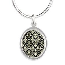 Cream & Black Damask 41 Silver Oval Necklace